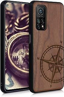 kwmobile Telefoonhoesje compatibel met Xiaomi Mi 10T / Mi 10T Pro - Hoesje met bumper in donkerbruin - walnoothout - Vinta...