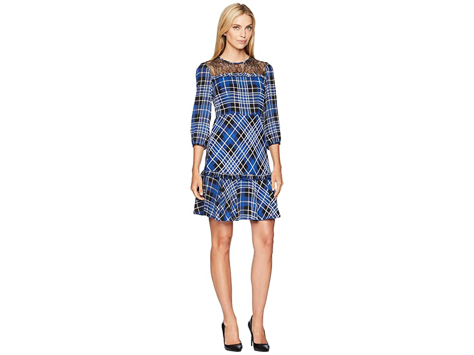 Donna Morgan Lace Yoke Plaid Fit and Flare (Blue Flame/Black Multi) Women