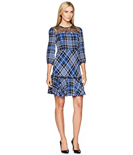 Lace Yoke Plaid Fit and Flare