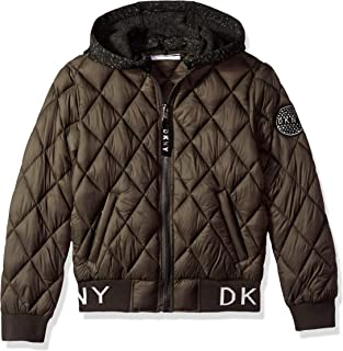 DKNY Girls' Big Quilted Bomber Jacket with Fleece Hood