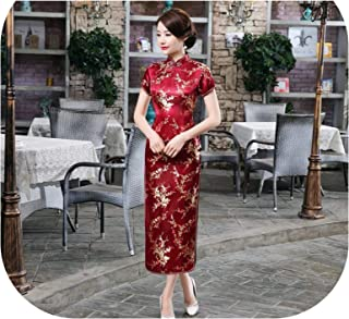c2dad26d7 heartbeat-time Satin Qipao Summer Lady Traditional Chinese Style Cheongsam  Dresses Women Short Sleeve Long