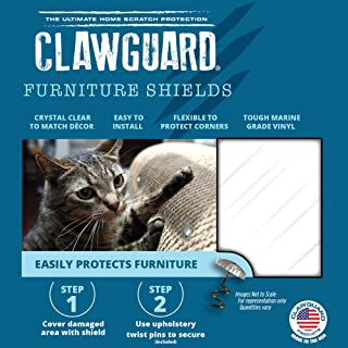 CLAWGUARD Marine Grade Furniture Shields The Ultimate Clear Cat Scratch Pads to Protect & Cover Couch/Sofa/Chair/Upholstery