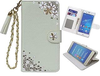 「kaupili」 Xperia Z3 (SO-01G/SOL26/401SO)ケース 鏡/ミラー付き カード収納 スタンド機能 手帳型 お財布機能付き 化粧鏡付き ホワイト