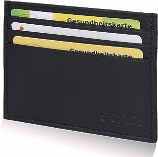 Amazon Brand - Eono, porta carte di credito in pelle da uomo e donna, con scomparto per banconote, design piatto e funzion...