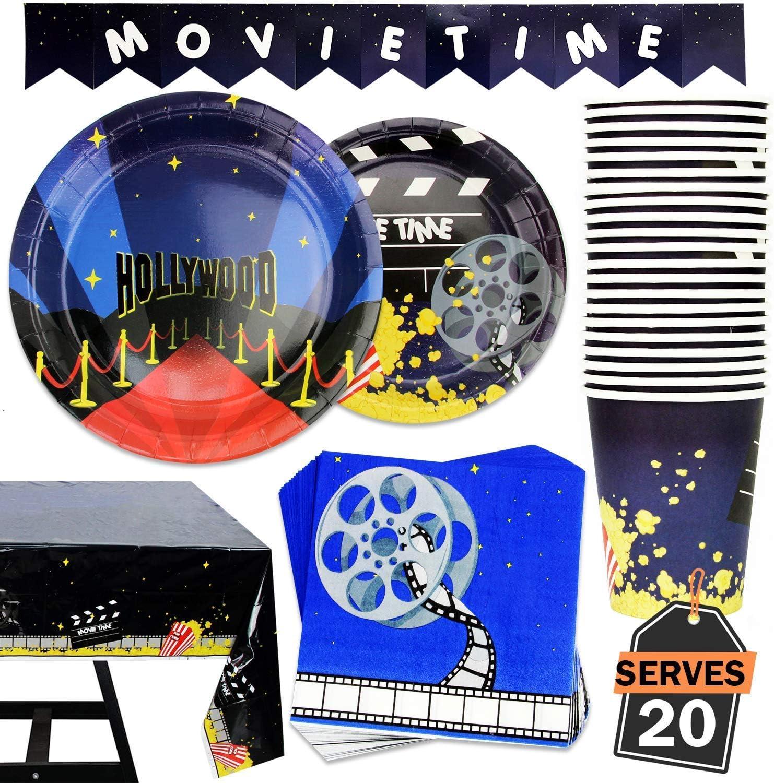 82 Piece Movie Night / Red Carpet Theme Party Supplies Set Inclu