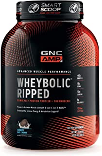 GNC AMP Wheybolic Ripped Whey Protein Powder - Cookies and Cream, 22 Servings, Contains 40g Protein and 15g BCAA Per Serving