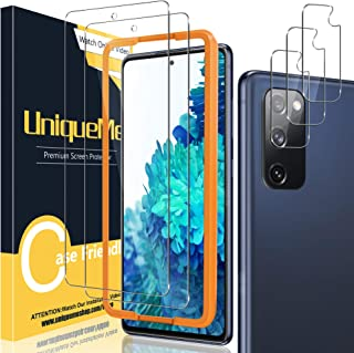 [2+3 Pack] UniqueMe Camera Lens Protector and Screen Protector for Samsung Galaxy S20 FE 5G / 4G Termperd Glass [Easy Inst...