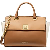 Michael Kors Sylvia Tricolor Crossgrain Leather Top Zip Satchel (Butternut Multi/Gold)