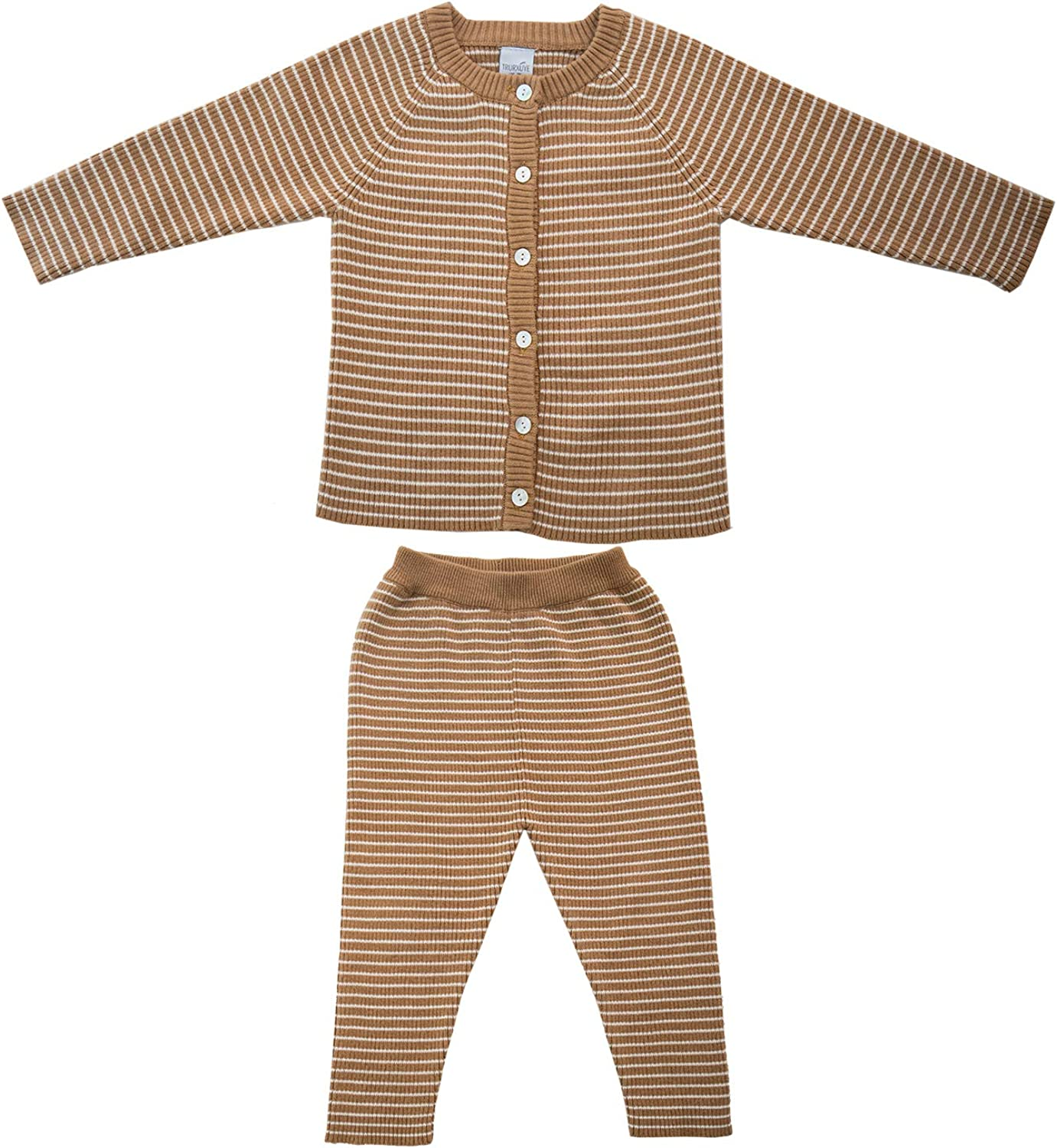 TRURXUYE Baby Knit Long Sleeve Ruffle Top and Pants Set, 2PCS Brown Striped Warm Bodysuit Clothing Sets for Fall Winter Wear