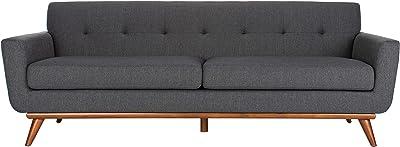 Safavieh Couture Home Opal Mid-Century Modern Slate Grey and Walnut Tufted Sofa