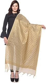 Weaving Wonders Women's Banarasi Silk Cotton Blend Chanderi Dupatta (VE11045-A, Champagne Gold, Free Size)