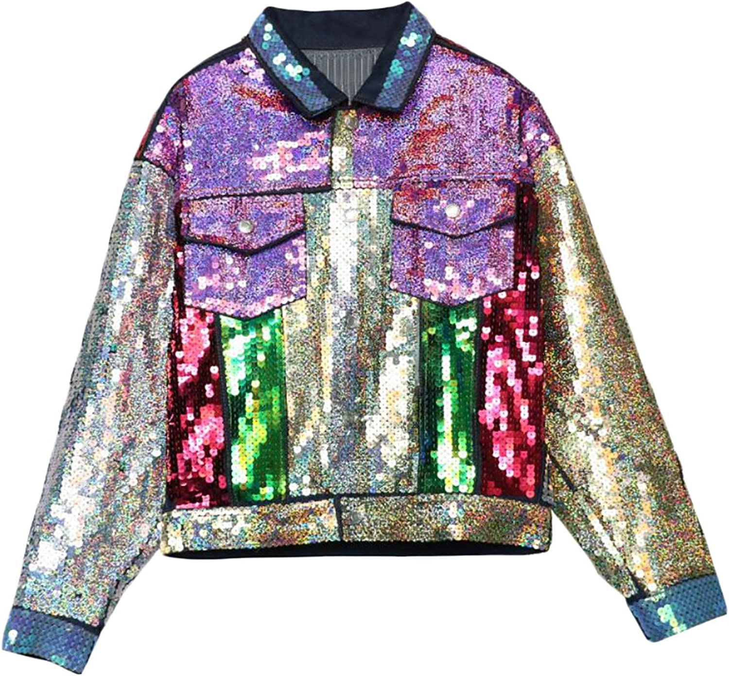 Alion Women's Autumn Long Sleeve Sequin Glitter Plus Size color Block Denim Jacket