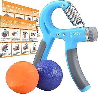 Amazing Core Fitness ACF Hand Grip Strengthener Strength Trainer Adjustable Resistance 22-88 Lbs Best Hand Exerciser Gripper or Ball Set (Renewed)