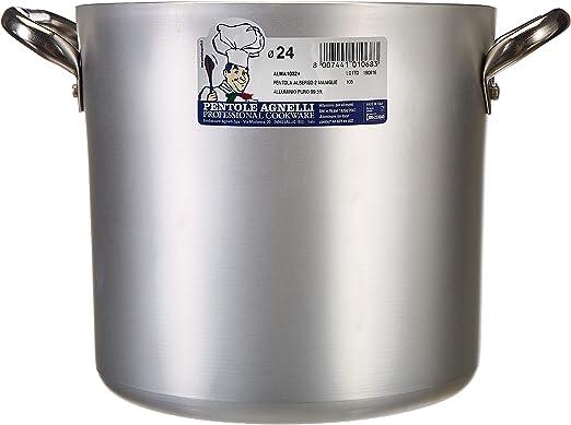 Pentole Agnelli Marmite tr/ès Lourde en Aluminium BLTF avec poign/ées en bak/élite Argent/é 26/cm Argent /épaisseur 5 mm