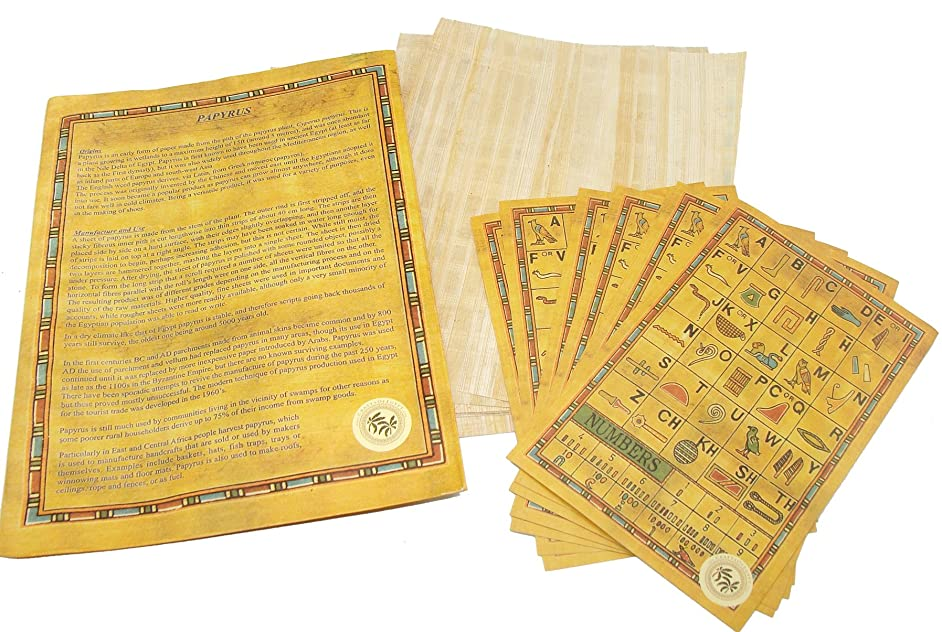 CraftsOfEgypt Set 10 Egyptian Papyrus Paper 6x8 Inch (15x20 cm) - Ancient Alphabets Papyrus Sheets-Papyri for Art Project, Scrapbooking, and School History - Ideal Teaching Aid Scroll Paper