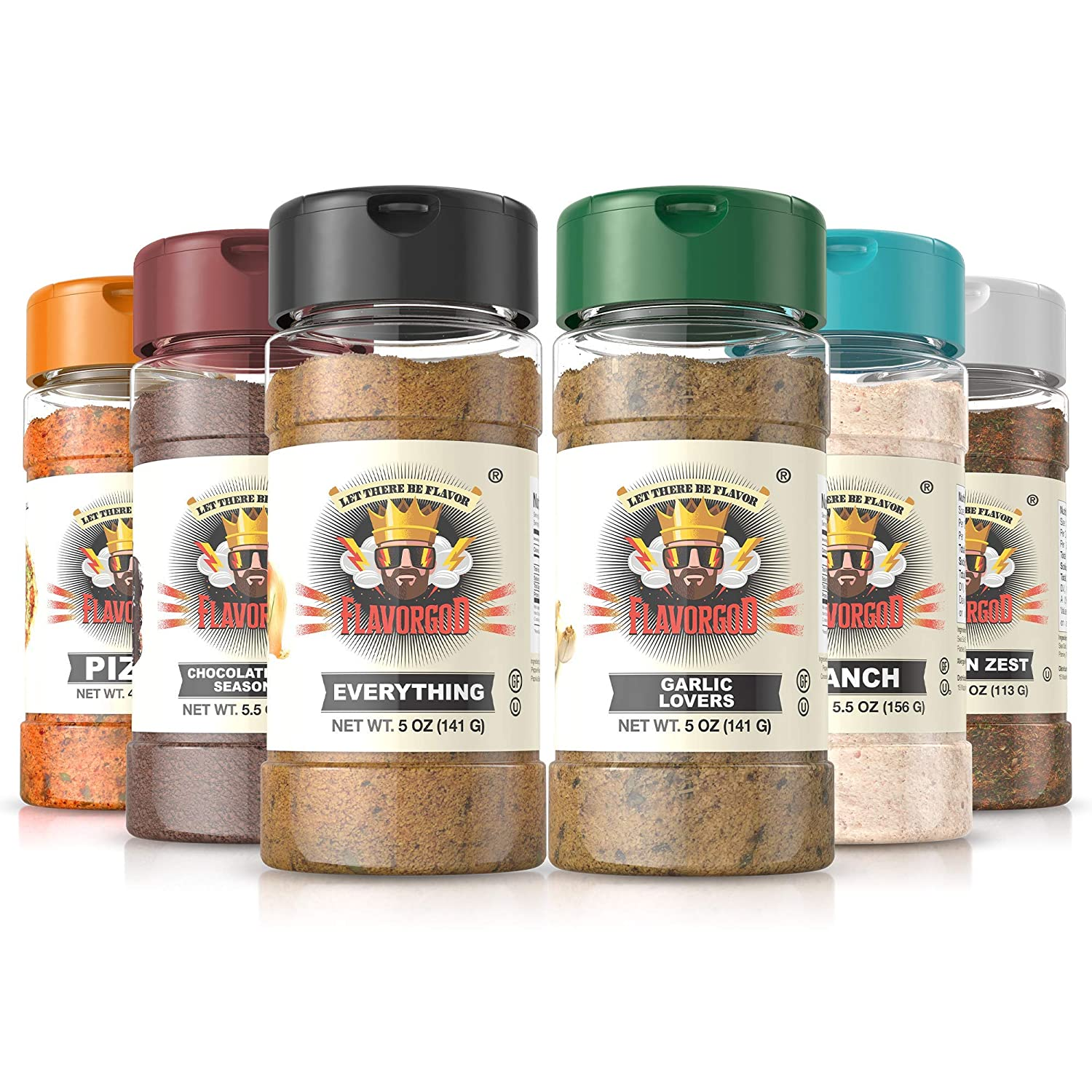 Flavor God Seasonings- Meal Prep Combo Pack   Pack of 6- 5oz   Healthy Vegan Seasonings   Great for Added Flavor  No Calories, No Dairy, No MSG, No Fat, No Gluten