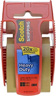 Scotch Super Strength Mailing Tape With Dispenser, 2 inch x 22 1/5 yard, Tan Color