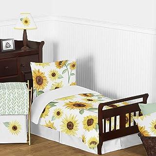 Sweet Jojo Designs Yellow, Green and White Sunflower Boho Floral Girl Toddler Kid Childrens Comforter Bedding Set - 5 Piec...