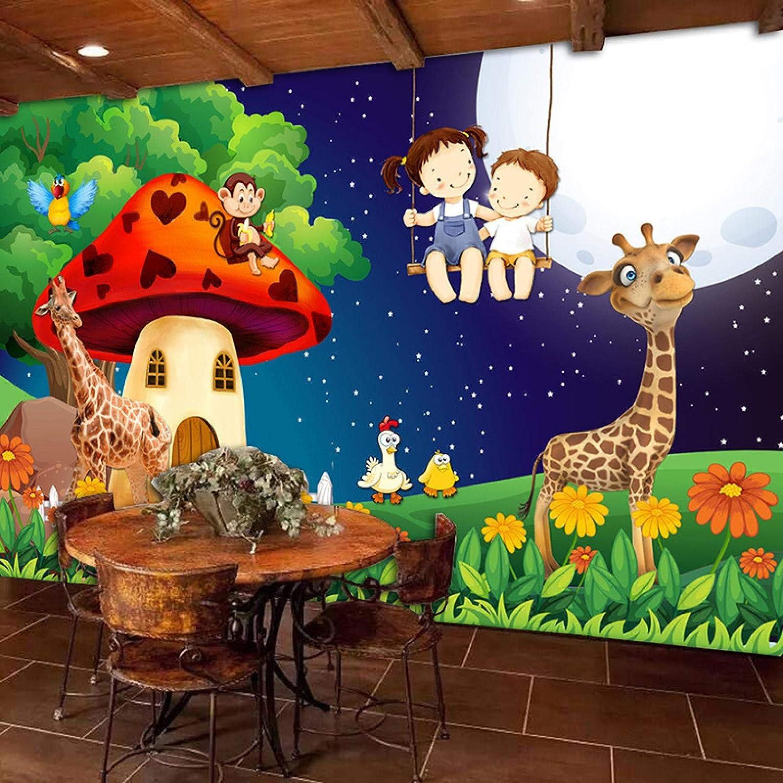 HGFHGD Forest Outlet sale feature Cartoon Moon Giraffe Kids Wallpaper Mural for Big price