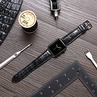 LUXSUISH Genuine Leather Watch Strap Replacement with Adapter Clasp Compatible Apple Watch S4/S3/S2/S1 Fits 42MM (Black 42mm)
