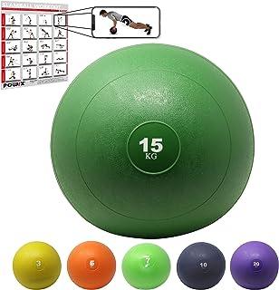 POWRX Slam Ball Balón Medicinal 3-20 kg - Ideal para Ejercicios de »Functional Fitness«, fortalecimiento y tonificación Muscular - Contenido de Arena y Efecto Anti-Rebote + PDF Workout