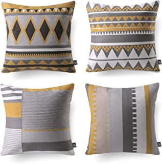 Phantoscope Set of 4 100% Cotton Embroidery Yellow Grey Geometric Throw Pillow Cushion Cover 18 x 18 inches 45 x 45 cm