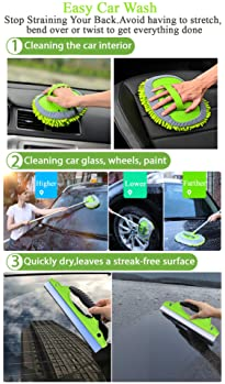 """GreatCool 2 in 1 Chenille Microfiber Car Wash Mop Mitt with 44.5"""" Aluminum Alloy Long Handle,Brush Duster Not Hurt Pa..."""