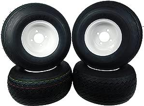 MASSFX Wheel & Tire Golf Cart Tire 18x8.5-8 with White MASSFX 8x7 4/4 Rim 4 PACK