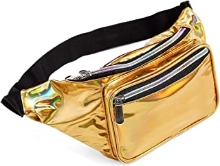 80s Holographic Rave Gold Fanny Pack For Festival Women Girls Cute Fashion Waist Bag Belt Bags (Gold)