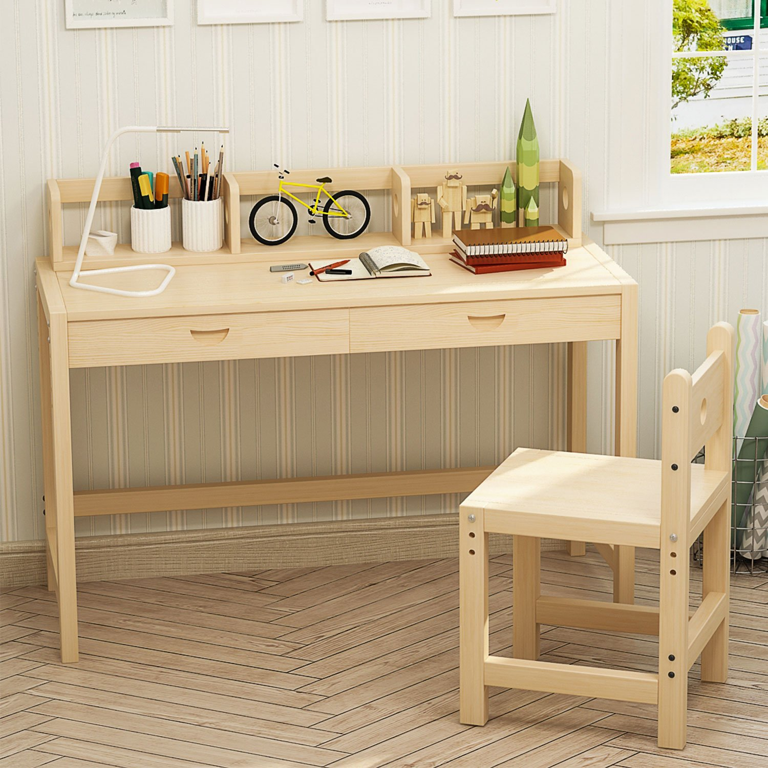 Amazon.com: Tribesigns Unfinished Kids Study Desk and Chair Set