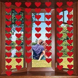 72 Red Hearts Felt Garland - NO DIY - Valentines Day Red Heart Hanging String Garland - Valentines Day Decor - Valentine D...