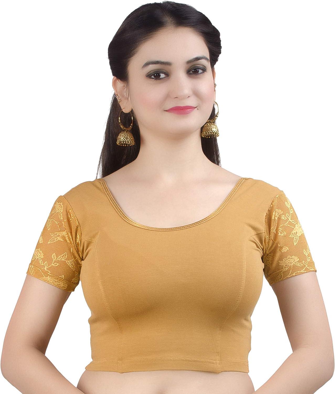 Chandrakala Women's Stretchable Readymade Saree Blouse Crop Top Choli with Long Sleeves