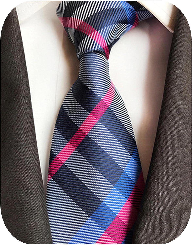 Fashion 8cm Silk Tie Balck Bule Plaid Jacquard Weave Necktie Men Business Wedding Party Formal Neck Ties Accessories