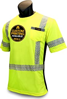 KwikSafety (Charlotte, NC) DISCOVERY (Crew Neck FISHBONE Tape) Class 2 ANSI High Visibility Safety Shirt with Pocket Reflective Tape Construction Security HiVis Clothing Men Short Sleeve Yellow Medium
