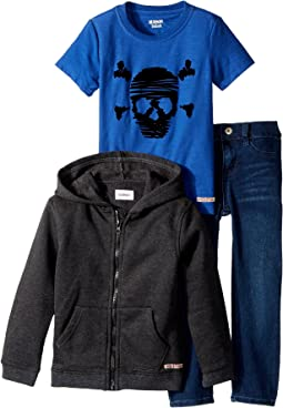 Hudson Kids - Three-Piece Hoodie Short Sleeve Tee w/ Knit Denim Pants Set (Toddler)