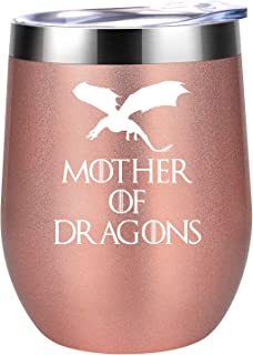 Mother of Dragons - GoT House Targaryen Inspired Merchandise Gift - Funny Birthday, Christmas Wine Gifts Idea for Women, Mom, Wife, Sister, Aunt, Best Friends, Coworker - Coolife 12oz Wine Tumbler Cup