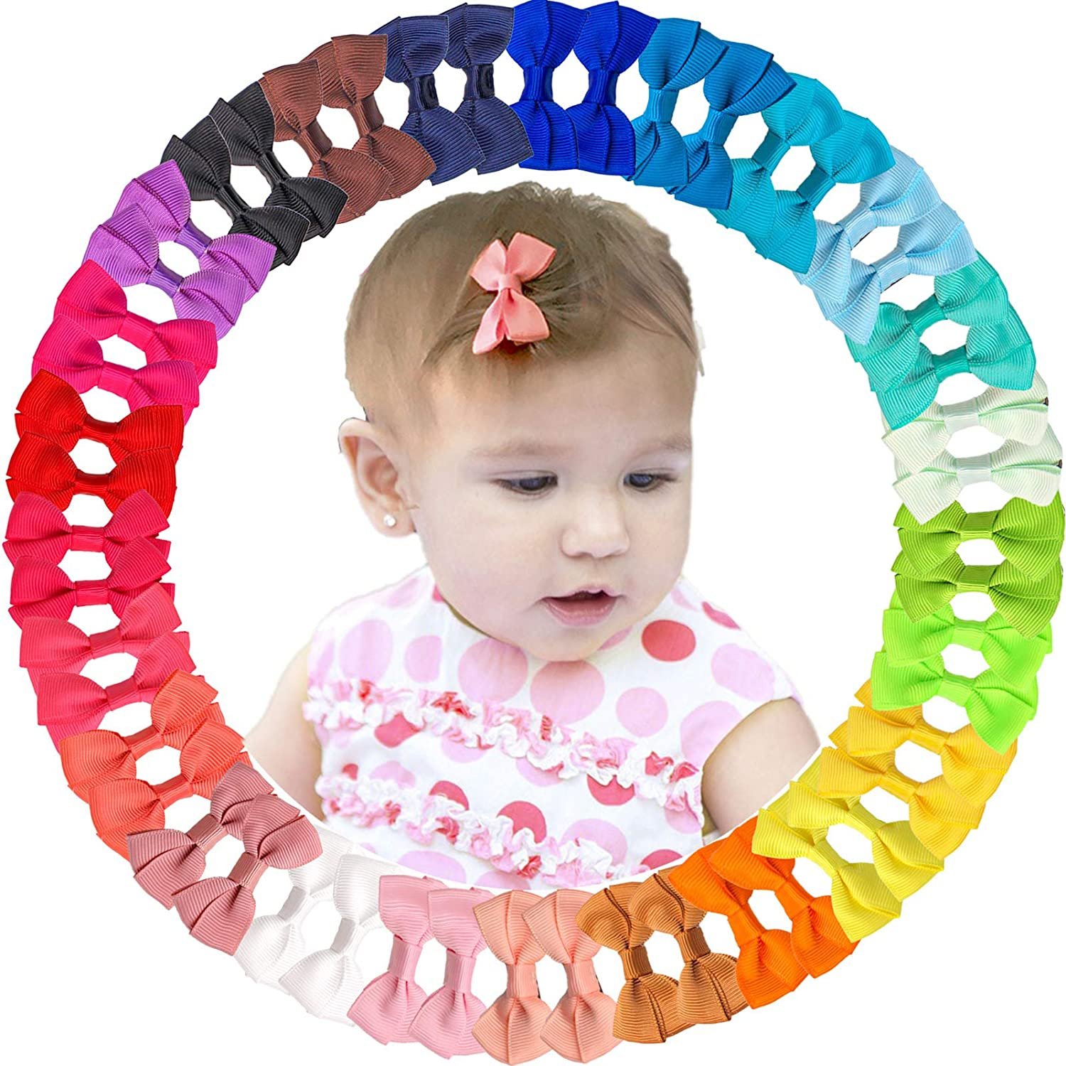 JOYOYO 50 Pieces 2 Inch Tiny Clips National uniform free Outstanding shipping Alligator Bows Hair for