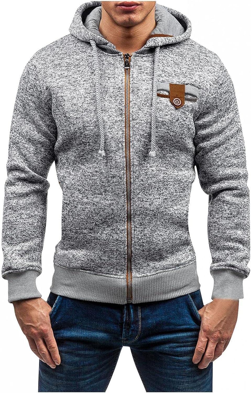 Men's Hoodies Zip Up Lightweight Men Autumn Winter Casual Long Sleeve Patchwork Sports Outwear Hooded Sweatshirts Pocket