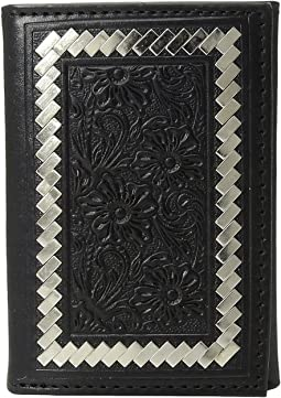 Steel Lacing Tooled Trifold Wallet