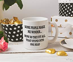 DKISEE Some People Make Me Wonder How Do They Fit All That Stupid Into One Head Mug Office Mug Work Mug Funny Mug Funny Saying Mug 15 Ounce Ceramic Coffee Mug Tea Cup