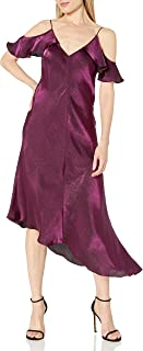 Donna Morgan Women's Shimmer Slip Dress with Cold Shoulder Ruffle