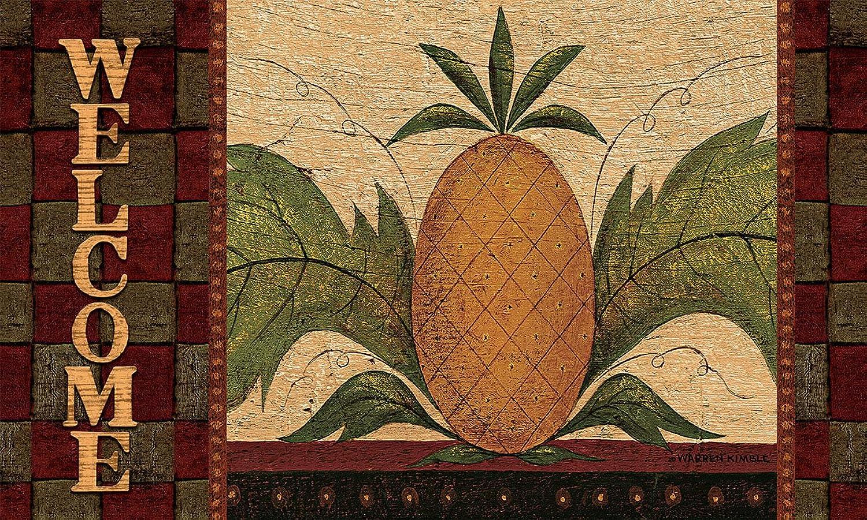 Lang 3210037 Welcome Pineapple Door Mat by Warren Kimble, 30 x 18