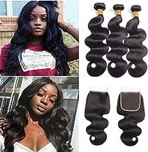 10A Brazilian Body Wave 3 Bundles with Closure Human Hair Bundles Unprocessed Brazilian Virgin Hair Body Wave Human Hair Bundles Natural Colour (20 22 24+20 inches)