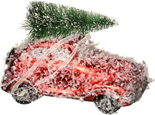 kat + annie Snow Dusted Car Ornament, Red/Green