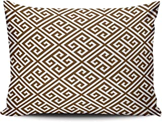 KAQIU Home Furnishing Pillowcase Chocolate Brown Greek Key Pattern Custom Cushion Standard Size 20x26 Inch Throw Pillow Cover Hidden Zipper Chic & Personality Rectangular Double-Sided Printed Design