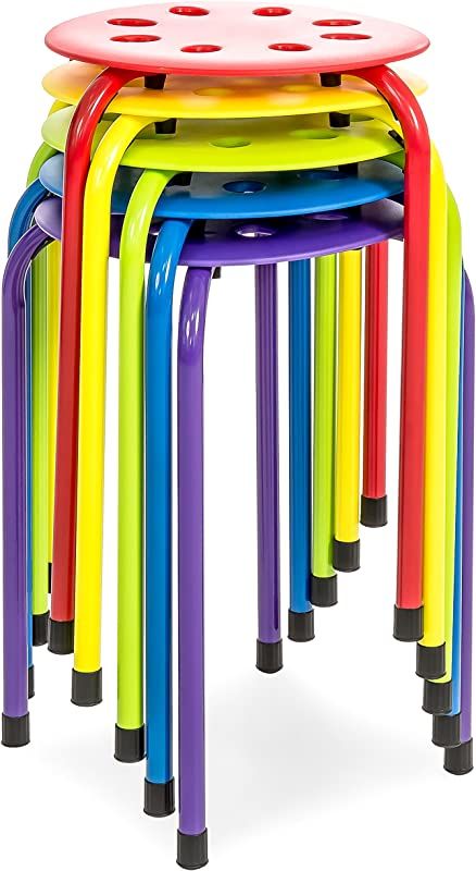 Best Choice Products Set Of 5 Backless Steel Stackable Stools Multicolor