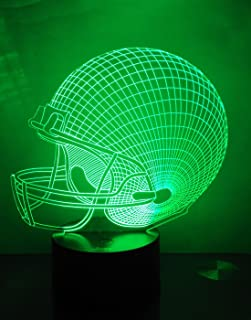 Football Helmet 3D Night Light LED Illusion Lamp Bedside Desk Table Lamp, Loveboat 7 Color Changing Lights with Acrylic Flat and ABS Base and USB Charger as Home Decor
