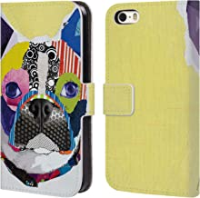 Official Michel Keck Boston Terrier Dogs 4 Leather Book Wallet Case Cover Compatible for iPhone 5 iPhone 5s iPhone SE