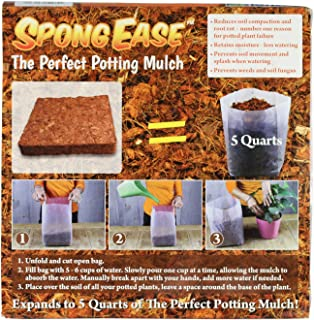 SpongEase Coco Fiber Mulch - 5 Quart for Container Plants - Turn Your Planter from Shabby to Chic - Retains Water, Restricts Weed Growth.