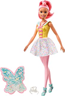 Barbie Dreamtopia Fairy Doll, Approx 12-Inch, with A Colorful Candy Theme, Pink Hair and Wings, for 3 to 7 Year Olds